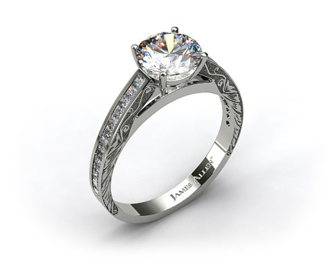 18k White Gold Engraved Channel Set Princess And Carre Shaped Diamond Engagement Ring